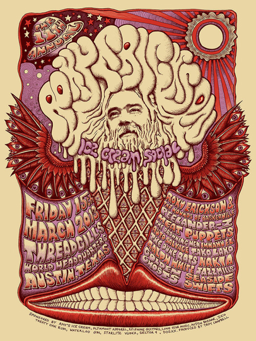 Mishka Westell roky erickson ice cream socia silkscreen Siebdruck Poster art of rock psychodelic art