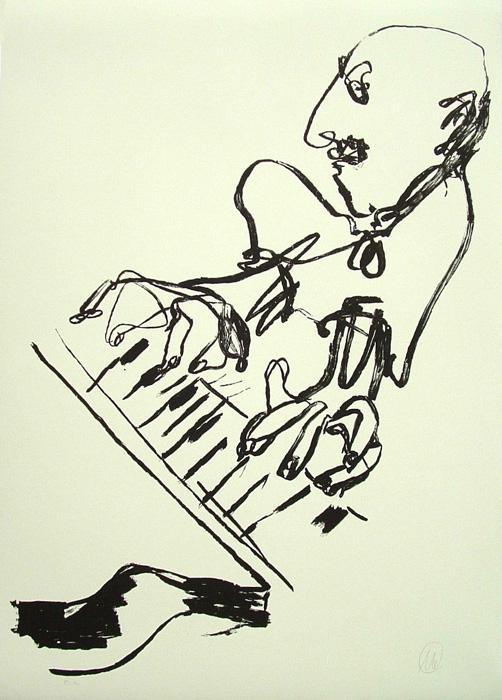 MARKUS LÜPERTZ selbst am flügel III Grafik Lithografie Litho Siebdruck screenprint Original Druckgrafik Druck Print Junge wilde