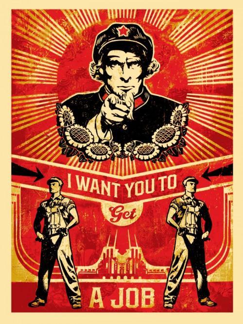 Shepard Fairey Obey silkscreen Siebdruck 2012  get a job