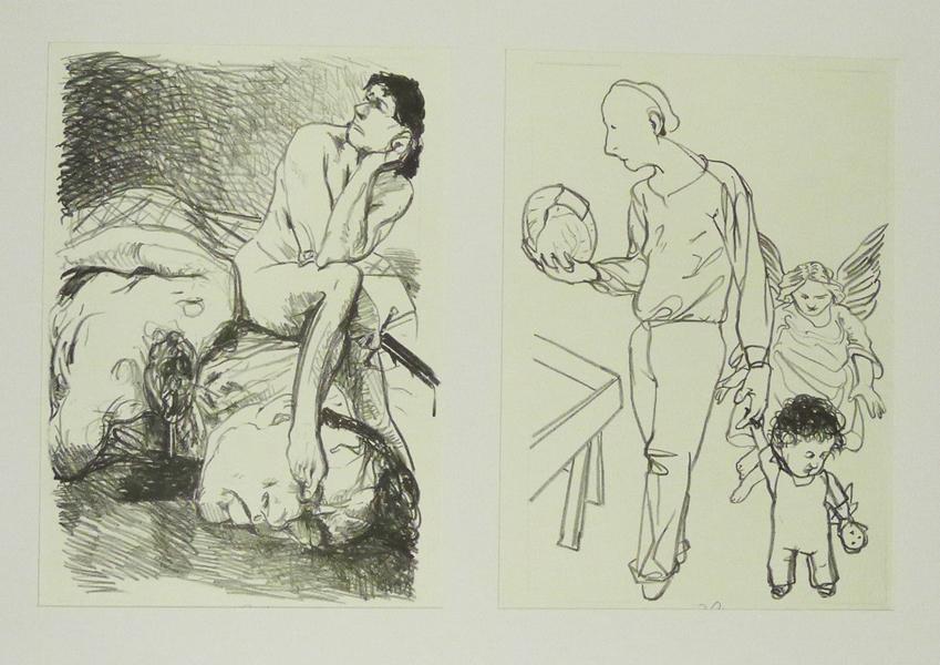 vierzig Steinzeichnungen Judith Lithografie Johannes Grützke Holzschnitt Radierung Schabradierung Offsetdruck Druckgrafik